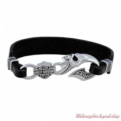 Bracelet cuir noir et argent Wicked Skull Harley-Davidson homme, fermoir crochet, HDB0443