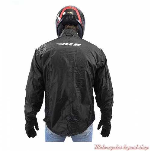 Veste de pluie 10K BLH, polyester noir, dos, HVPHIC