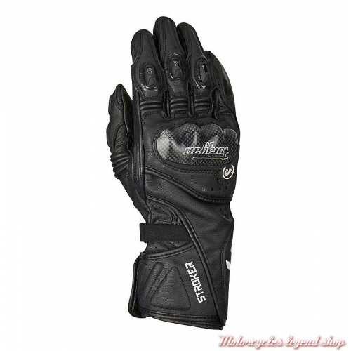 Gants Racing Stroker Furygan, cuir noir, protections, manchette
