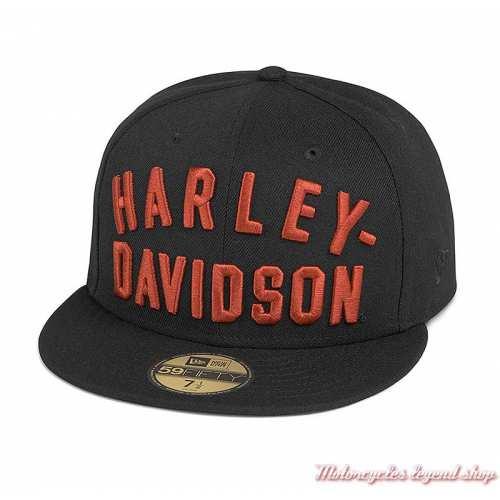 Casquette 9Fifty Harley-Davidson, noir, brodé orange, réglable, coton, 97682-21VM
