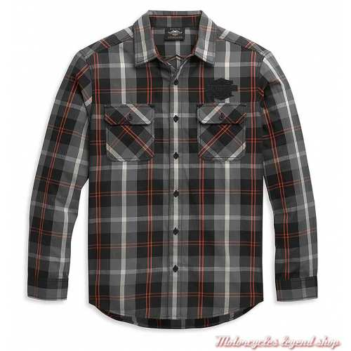 Chemise Plaid Bar & Shield Harley-Davidson homme, gris, orange, coton, manches longues, 96344-21VM