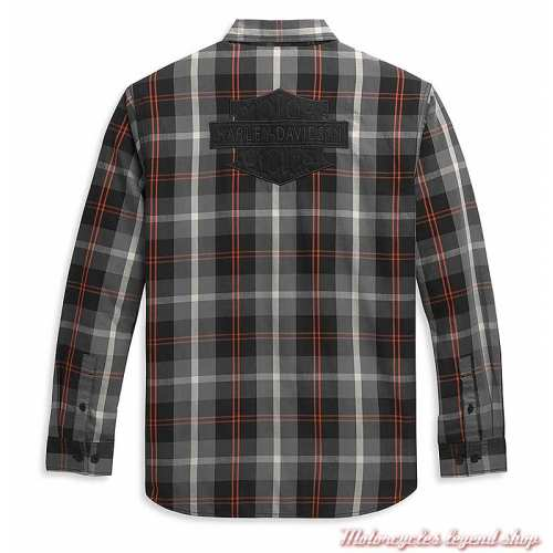 Chemise Plaid Bar & Shield Harley-Davidson homme, gris, orange, coton, manches longues, dos, 96344-21VM