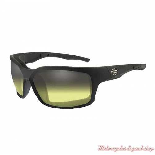 Lunettes jour/nuit Cogs jaune Harley-Davidson, noir mat, fumé gris, cavité intérieur amovible, HDCGS11