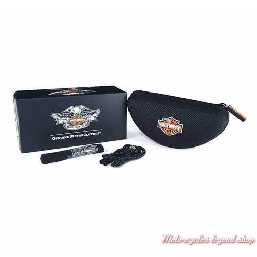 Lunettes jour/nuit Cogs jaune Harley-Davidson, noir mat, fumé gris, cavité intérieur amovible, boitier, HDCGS11