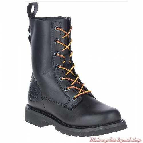 Chaussure Beason Harley-Davidson femme, lacets, zip, cuir noir, D84654