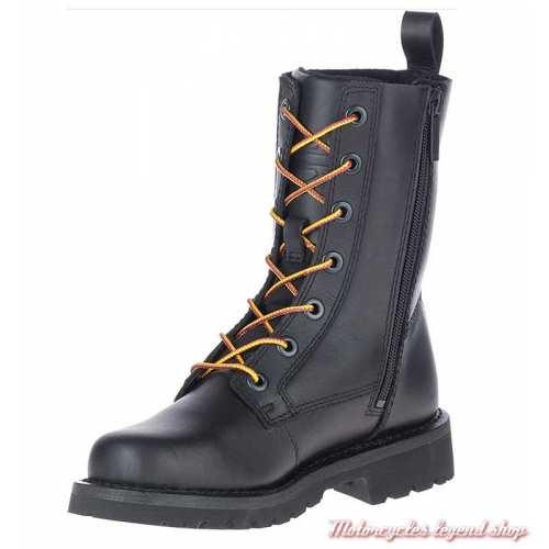 Chaussure Beason Harley-Davidson femme, lacets, zip, cuir noir, D84654-2