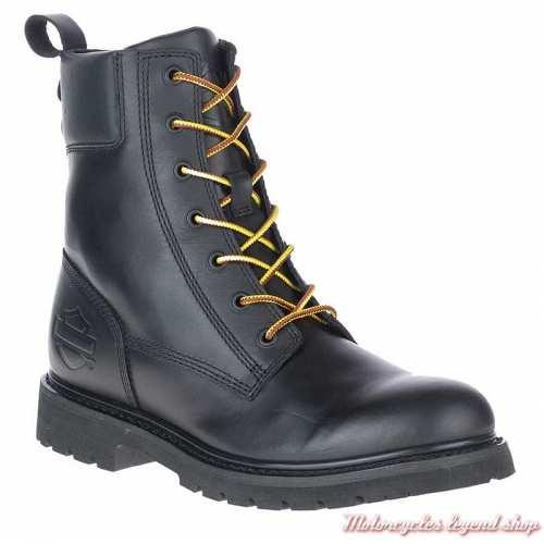 Chaussure Beason Harley-Davidson homme, lacets, zip, cuir noir, D93708