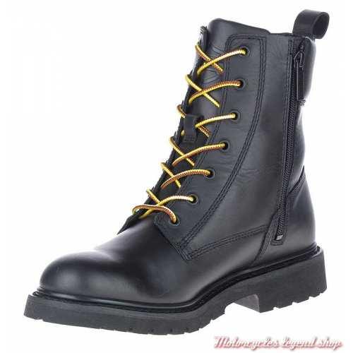 Chaussure Beason Harley-Davidson homme, lacets, zip, cuir noir, D93708-2