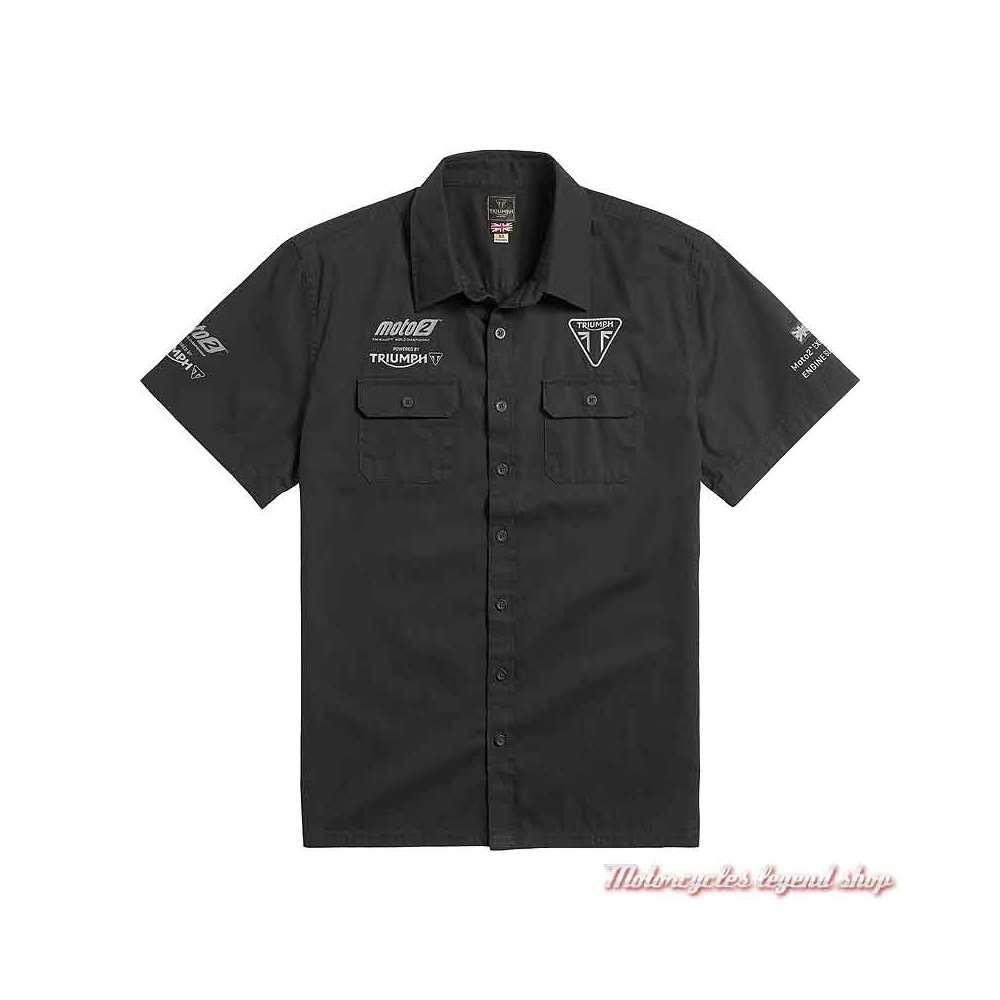 Chemisette Moto2 2021 Triumph homme, noir, manches courtes, coton, MSSS21503
