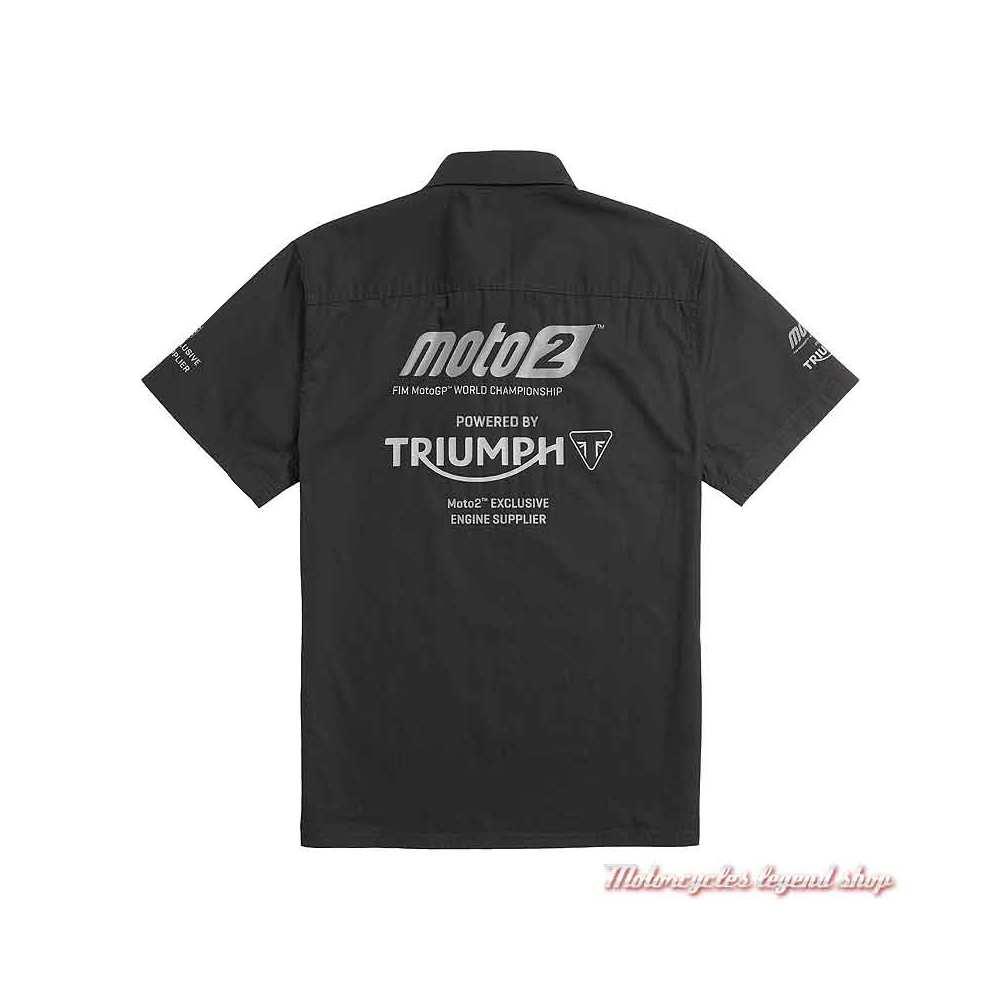 Chemisette Moto2 2021 Triumph homme, noir, manches courtes, coton, dos, MSSS21503