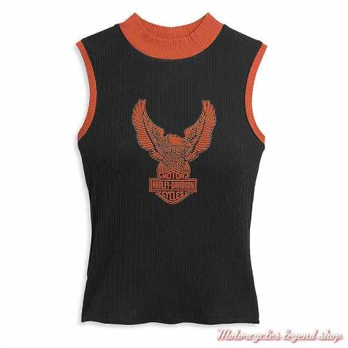 Débardeur Eagle Mockneck Harley-Davidson femme, col montant, noir orange, coton côtelé, 96496-21VW
