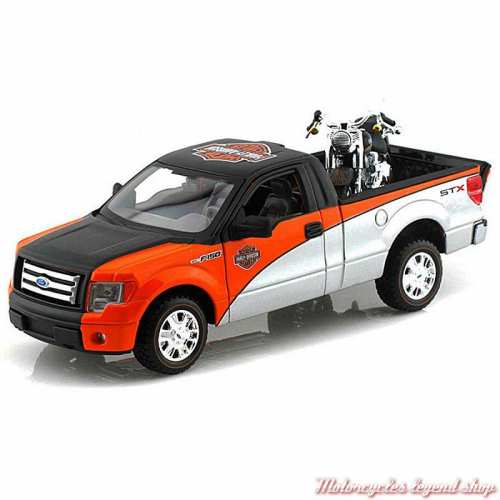 Miniature Pickup Ford F-150 et Fat Boy Harley-Davidson, noir, orange, argent, 1/24, 32161-32187