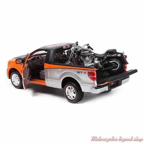 Miniature Pickup Ford F-150 et Fat Boy Harley-Davidson, noir, orange, argent, 1/24, arrière, 32161-32187