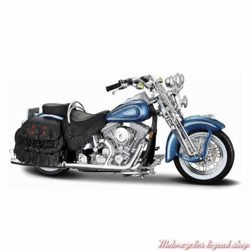 Miniature FLSTS Heritage Softail Springer 1999 bleu Harley-Davidson, échelle 1/18