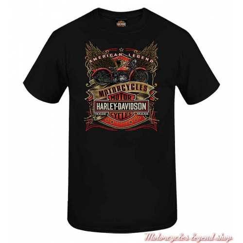 Tee-shirt Label Line Harley-Davidson homme, noir, manches courtes, Cornouaille Moto Quimper Bretagne, R004036