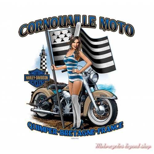 Tee-shirt Label Line Harley-Davidson homme, noir, manches courtes, backprint Cornouaille Moto Quimper Bretagne, R004036
