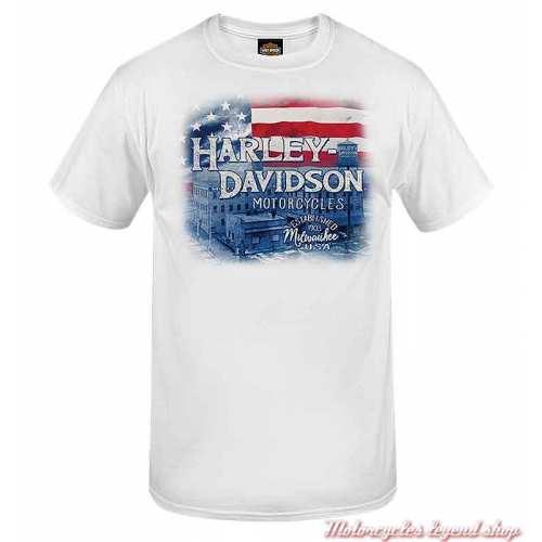 Tee-shirt Factory Flag Harley-Davidson homme, blanc, manches courtes, Cornouaille Moto Quimper Bretagne, R004038