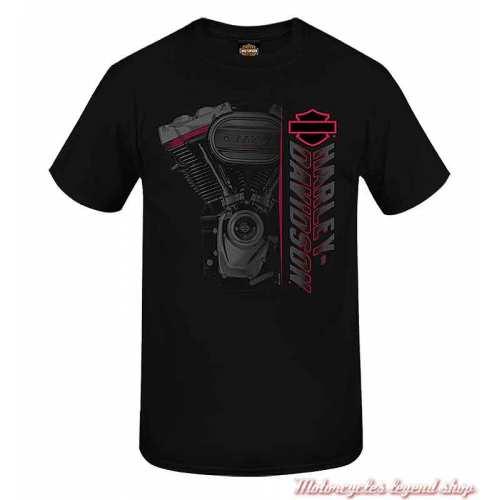 Tee-shirt Side Engine Harley-Davidson homme, noir, manches courtes, Cornouaille Moto Quimper Bretagne, R004047