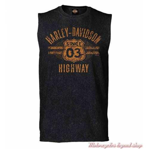 Tee-shirt sans manche Highway 03 Harley-Davidson homme, noir, coton, Cornouaille Moto Quimper Bretagne, R004062