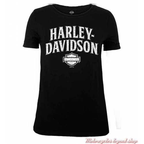 Tee-shirt Arrange Harley-Davidson femmenoir, coton, manches courtes, Cornouaille Moto Quimper Bretagne R004085