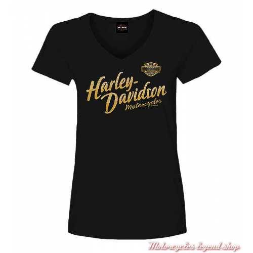 Tee-shirt Serene Harley-Davidson femme, noir, coton, glitter, manches courtes, Cornouaille Moto Quimper Bretagne R004101