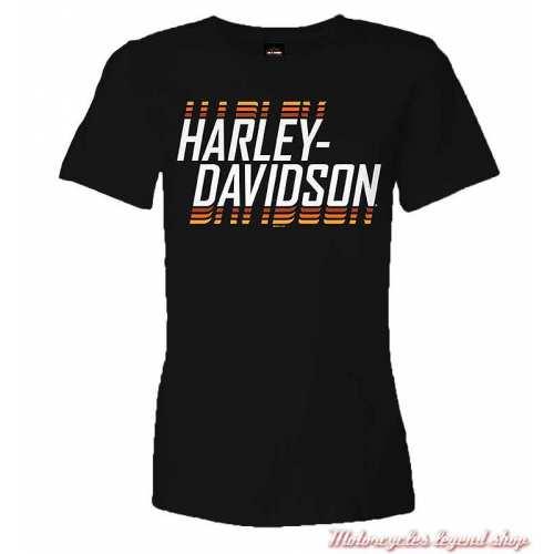 Tee-shirt Super Name Harley-Davidson femme, noir, coton, manches courtes, Cornouaille Moto Quimper Bretagne R004089