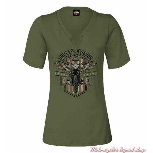 Tee-shirt Vintage MC Harley-Davidson femme, kaki, coton, manches courtes, Cornouaille Moto Quimper Bretagne R004109