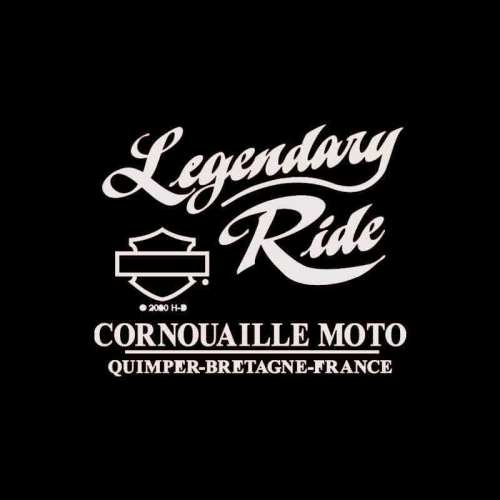 Tee-shirt Vintage MC Harley-Davidson femme, kaki, coton, manches courtes, dos Cornouaille Moto Quimper Bretagne R004109