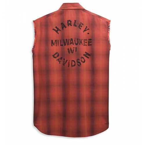 Chemise Plaid sans manche Harley-Davidson homme, orange, noir, coton, dos, 96459-21VM