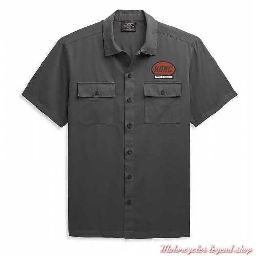 Chemisette garage Harley-Davidson homme, gris, coton, 96449-21VM