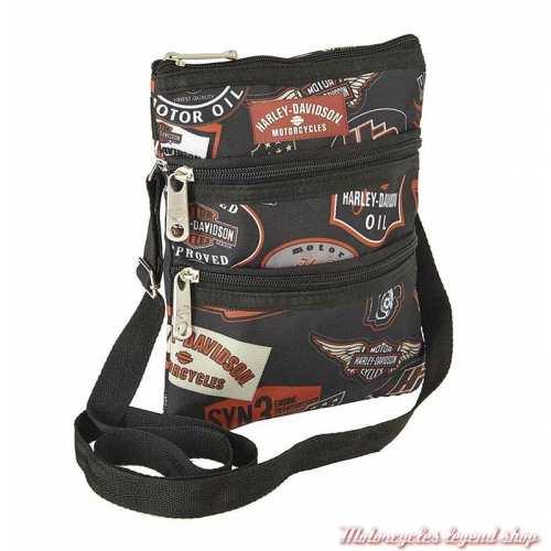 Sac pochette à bandoulière Harley-Davidson, polyester noir, logos H-D 99616-VINTAGE