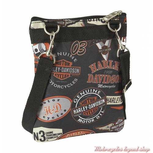 Sac pochette à bandoulière Harley-Davidson, polyester noir, logos H-D, dos, 99616-VINTAGE