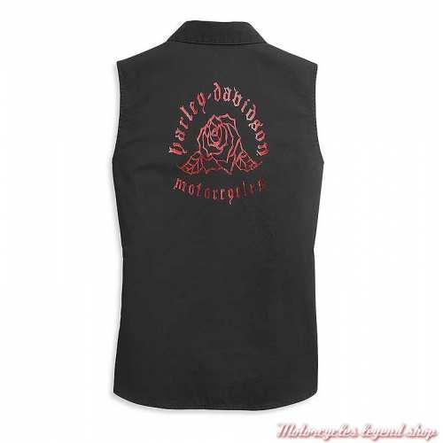 Chemisier sans manche Harley-Davidson femme, noir, coton, impression rose, dos, 96480-21VW
