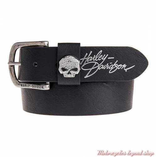 Ceinture cuir noir Rock Candy Harley-Davidson femme, skull strass, HDWBT11023