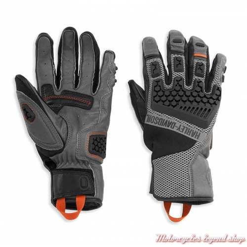 Gants Grit Adventure Harley-Davidson homme, mesh et cuir gris, 98183-21VM