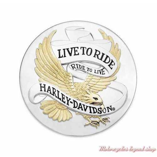 Médaillon adhésif Live to Ride Harley-Davidson, plastique, doré et chrome, 9 cm, 99027-90T