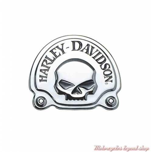 Médaillon adhésif Skull Chrome Harley-Davidson chrome, sissy bar, cache batterie, 91718-02