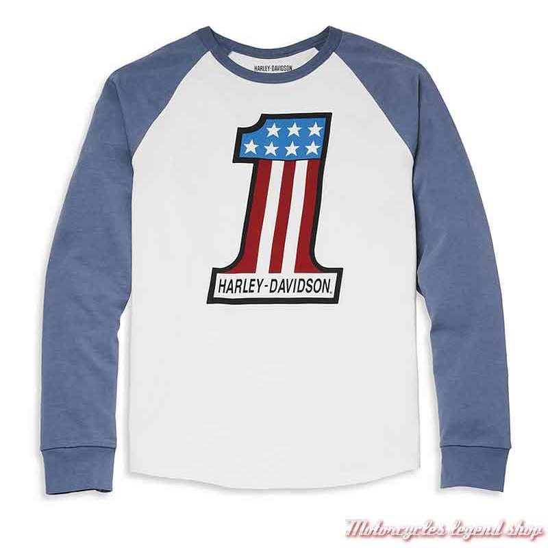 Tee-shirt raglan One Race Harley-Davidson homme, manches longues, blanc, bleu, coton, 96068-22VM