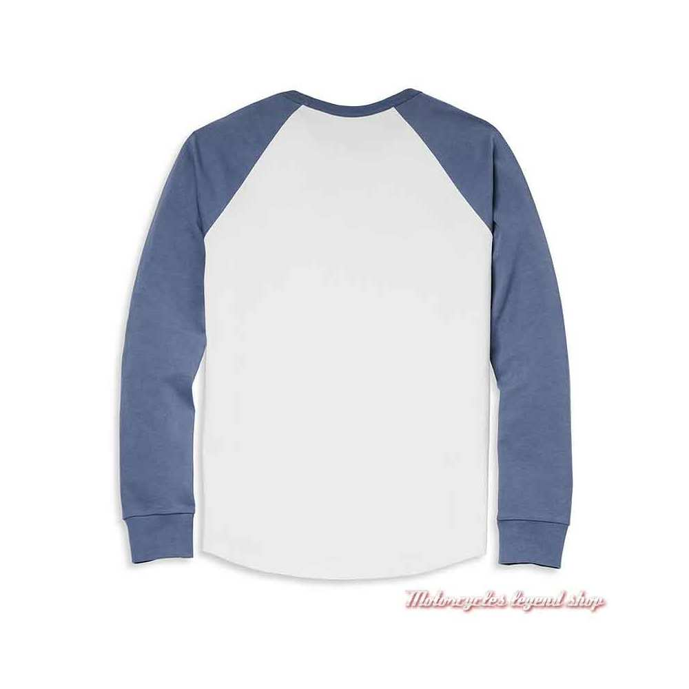Tee-shirt raglan One Race Harley-Davidson homme, manches longues, blanc, bleu, coton, dos, 96068-22VM