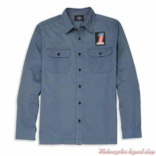 Chemise Mechanics Harley-Davidson homme, bleu, manches longues, coton, 96069-22VM