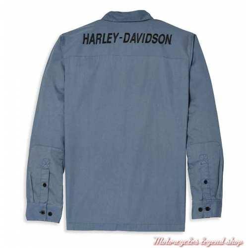 Chemise Mechanics Harley-Davidson homme, bleu, manches longues, coton, dos, 96069-22VM