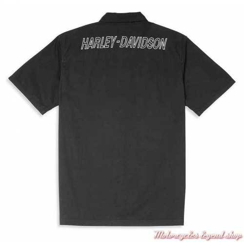 Chemisette Mechanics Harley-Davidson homme, noir, coton, dos, 96073-22VM