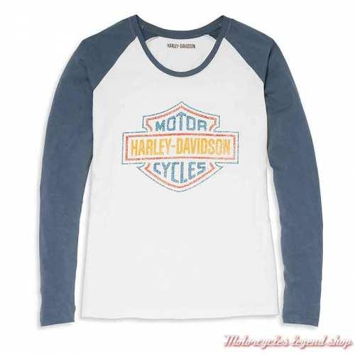 Tee-shirt raglan Bar & Shield Harley-Davidson femme, blanc et bleu, manches longues ,coton, 96075-22VW