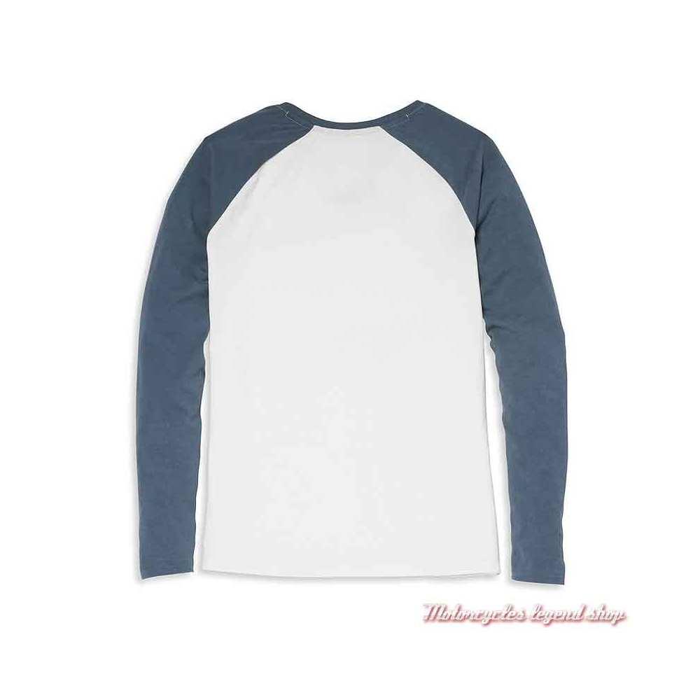 Tee-shirt raglan Bar & Shield Harley-Davidson femme, blanc et bleu, manches longues ,coton, dos, 96075-22VW