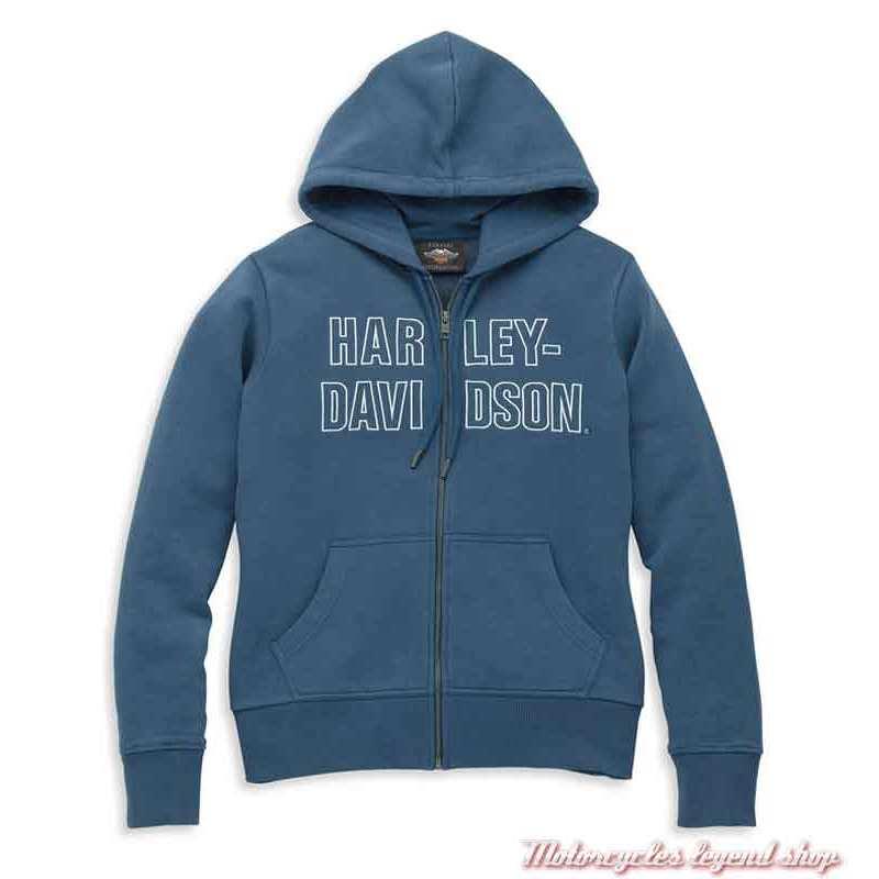 Sweatshirt Harley-Davidson femme bleu, zippé à capuche, 96085-22VW