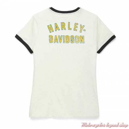 Tee-shirt Racer Harley-Davidson femme, écru, manches courtes, coton, dos, 96117-22VW
