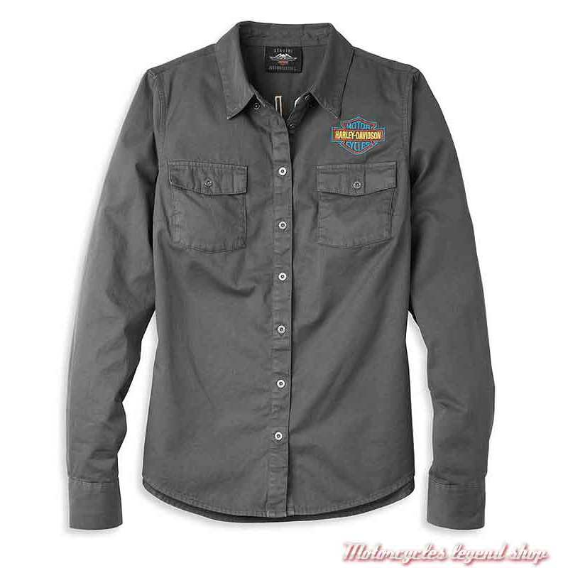 Chemise Bar & Shield Harley-Davidson femme, gris, manches longues, coton, 96121-22VW