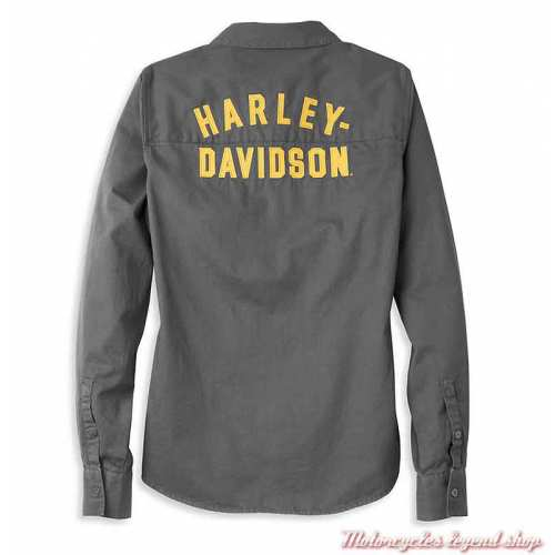 Chemise Bar & Shield Harley-Davidson femme, gris, manches longues, coton, dos, 96121-22VW