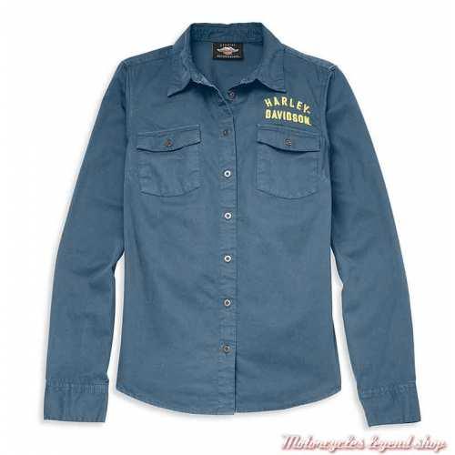 Chemise Racer Harley-Davidson femme, bleu, manches longues, coton, 96120-22VW