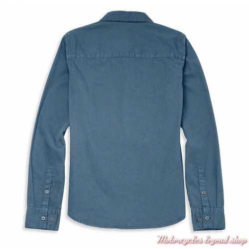 Chemise Racer Harley-Davidson femme, bleu, manches longues, coton, dos, 96120-22VW
